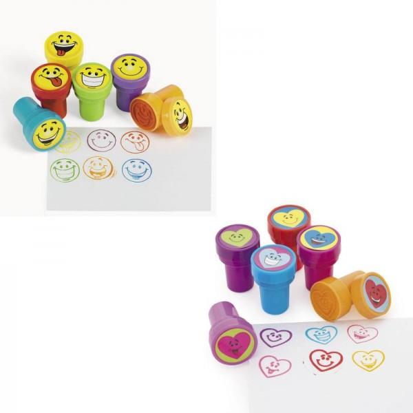 Kinderstempel Stempelset Smiley und lachende Herzen 12 Stück