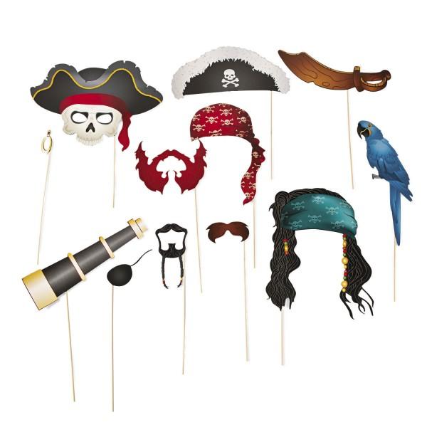 Piraten Foto-Accessoire Hut Bandana Kopftuch Bart Haare Schwert