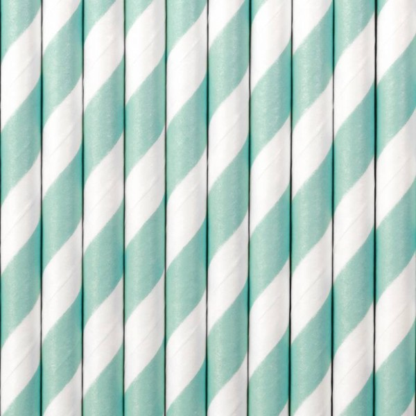Trinkhalme Hellblau Weiß gestreift aus Pappe Strohhalme 10 Stück