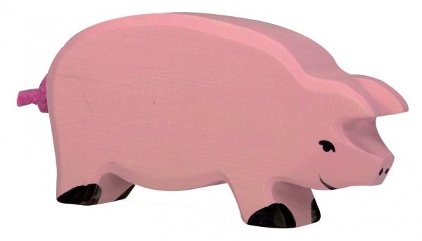 Schwein Bauernhof Holzfigur Holzspielzeug von Holztiger