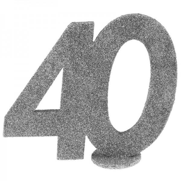 Xxl Tischdeko Zahl 40 Geburtstag Silber Glitzer 1 Stuck Zahlen