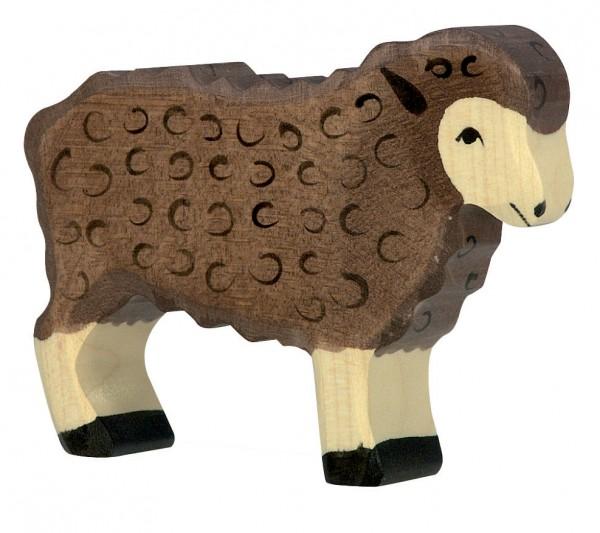Schaf stehend schwarz Bauernhof Holzfigur Holzspielzeug von Holztiger