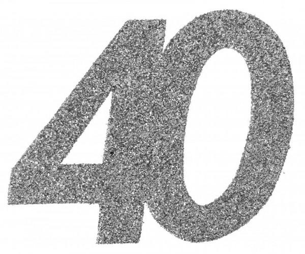 """XXL Geburtstags Konfetti Zahl""""40"""" silber glitzernd 6 Stück"""