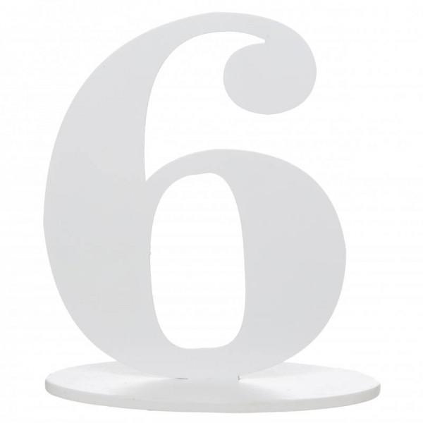 XXL Tischdeko Tisch-Zahl 6 aus Holz in Weiß Geburtstag 1 Stück