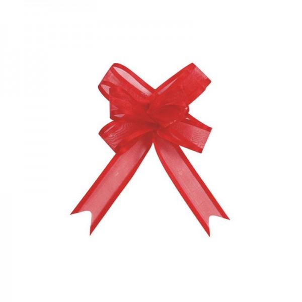 Ziehschleifen Geschenkschleifen rot 14cm x 10cm aus Organza mit Satinkante 5 Stück