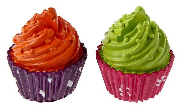 Mini Cupcake grün orange Tischkartenhalter Namensschilder 2 Stück