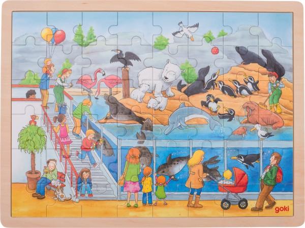 Holz-Puzzle Einlegepuzzle Besuch im Zoo goki 48 Teile