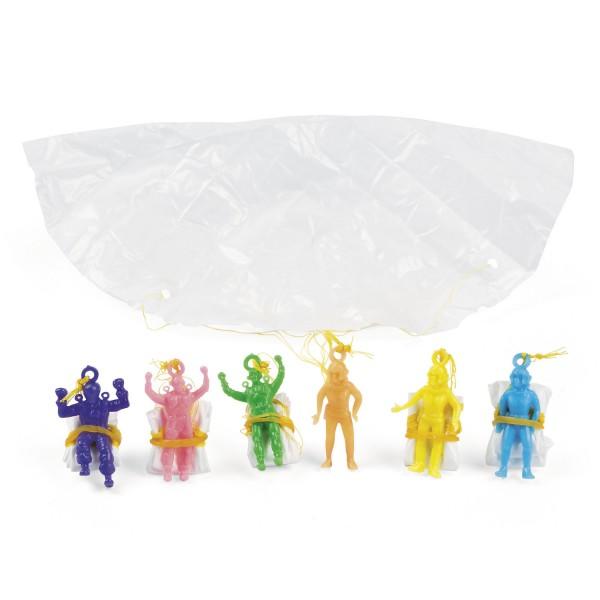 Mini Fallschirmspringer Soldaten Spielfiguren mit Fallschirm 12 Stück