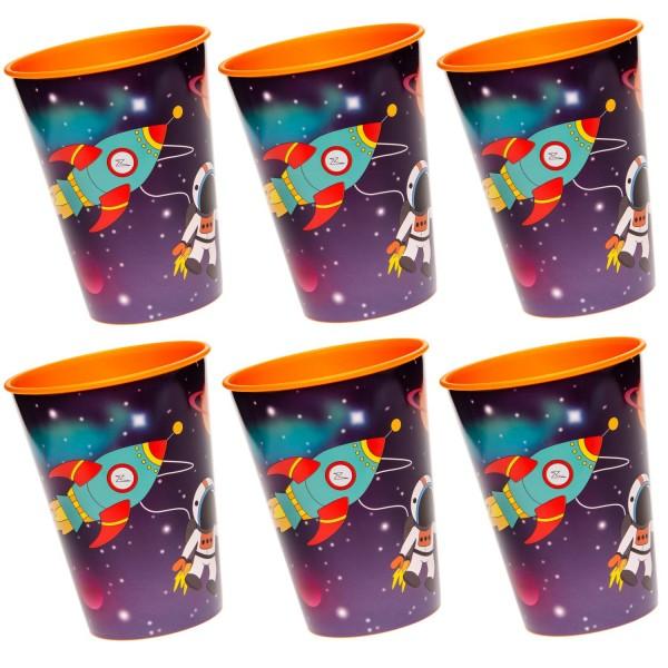 Weltraum Space Kunststoff Becher 6 Stück