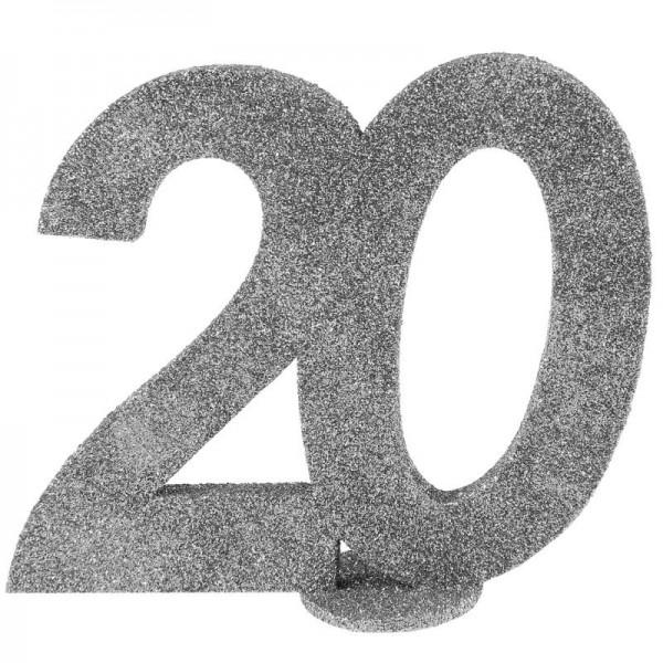 XXL Tischdeko Zahl 20 Geburtstag Silber Glitzer 1 Stück