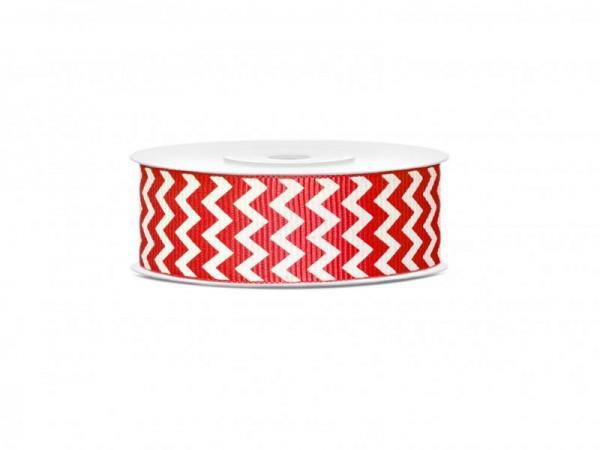 Geschenkband Schleifenband Rot und Weiß mit Zackenmuster 10m Rolle