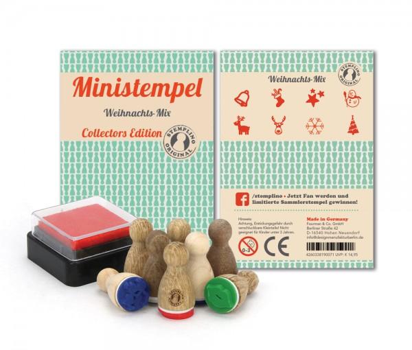 Holz-Stempel Weihnachts Mix 8 Stück mini