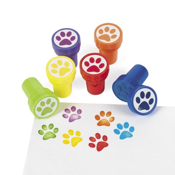 Kinderstempel bunte Pfoten Tapsen in 6 verschiedenen Farben