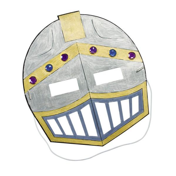 Ritter Maske im Ritterhelm Design zum ausmalen 12 Stück