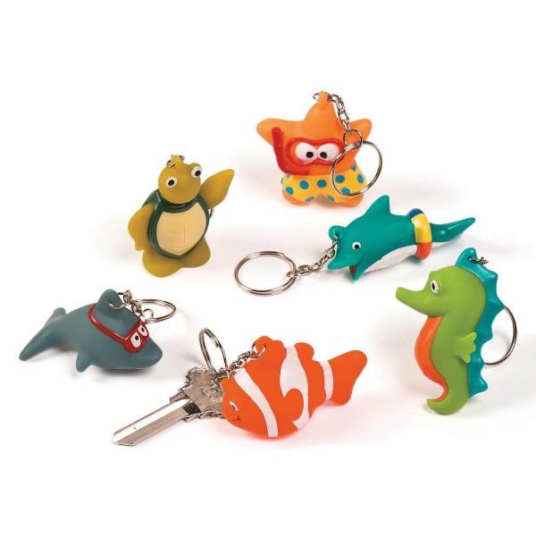 Lustige Meerestiere Schlüsselanhänger 6 Stück