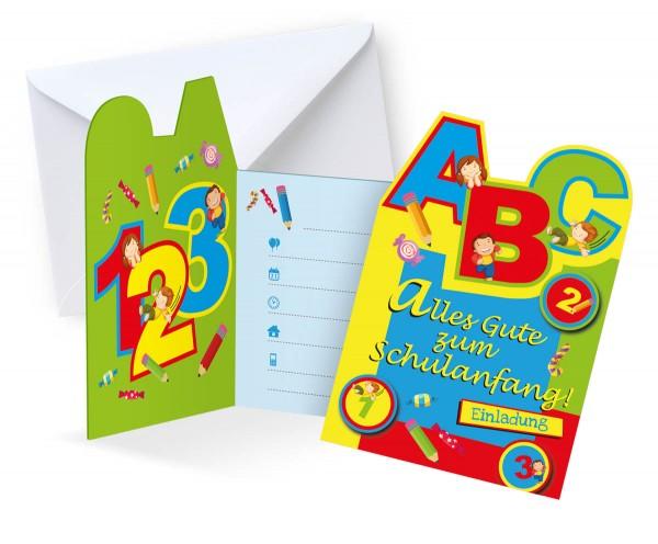 Einladungskarten Schulanfang Einschulung 6 Stück