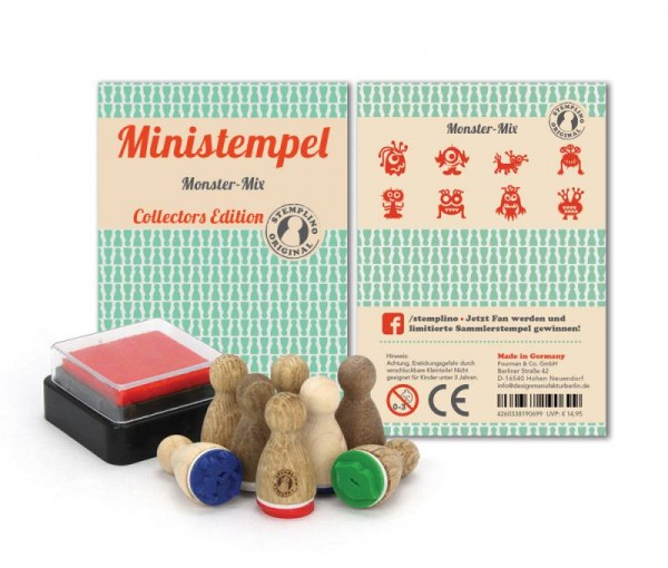 Holz-Stempel Monster Mix 8 Stück mini