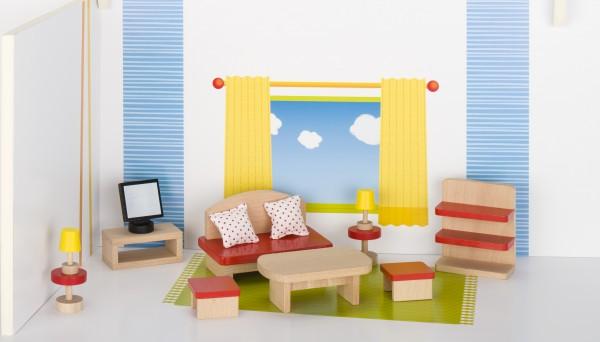 Puppenmöbel Wohnzimmer aus Holz goki basic Puppenhaus