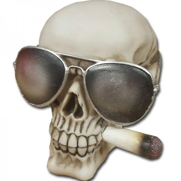 Halloween Totenkopf Totenschädel mit Joint und Sonnenbrille aus Resin