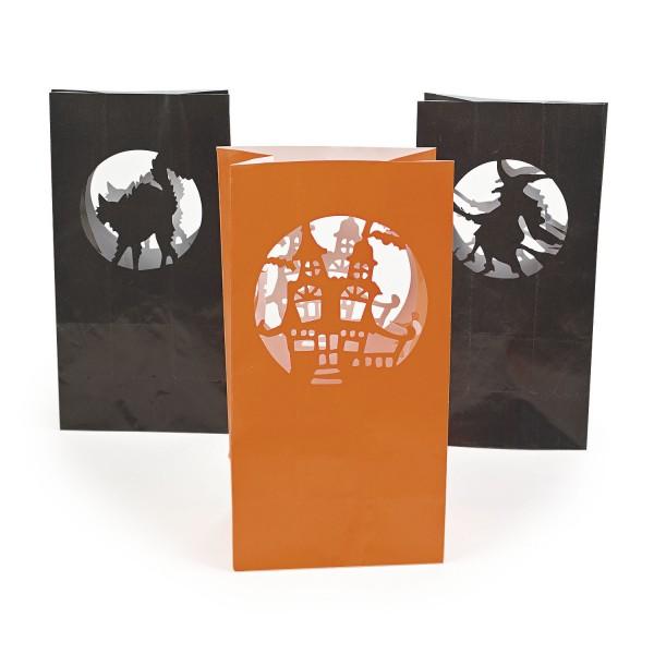 Halloween Lichttüten Papiertüten für LED-Licht 12 Stück