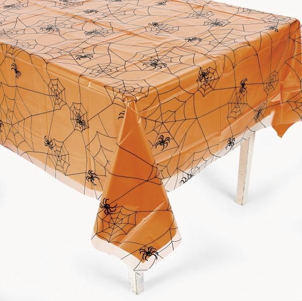 Halloween Tischdecke mit Spinnennetz und Spinnen Motiv