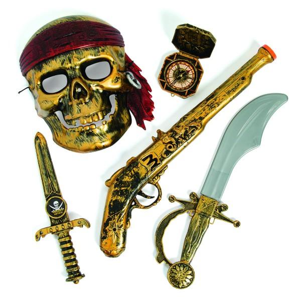 Piraten Party Set Maske Pistole Dolch Säbel und Kompass