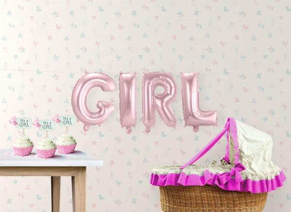 Ballon-Set Girl Folienballon Babyparty Babyshower