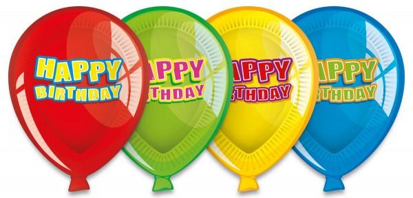 Happy Birthday Pappteller Geburtstag Luftballon 6 Stück