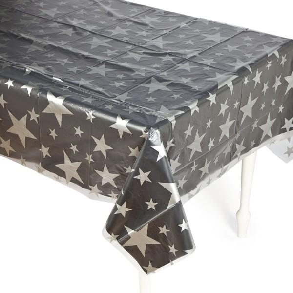 Silvester Tischdecke transparent mit silbernen Sternen