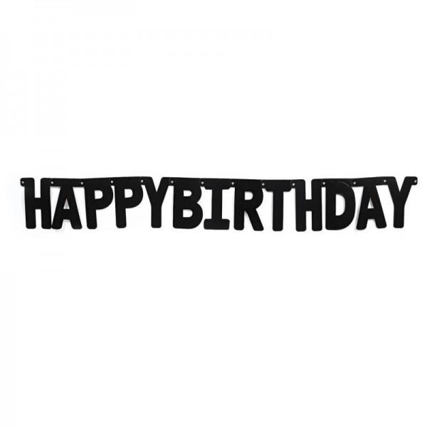 Buchstabengirlande Geburtstag Happy Birthday schwarz