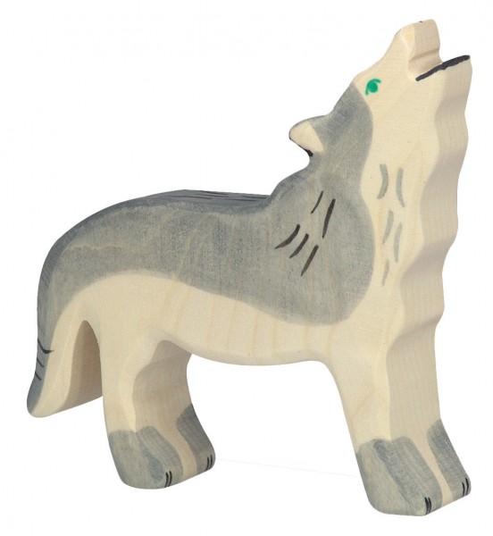 Wolf heulend Wildtier Holzfigur Holzspielzeug von Holztiger