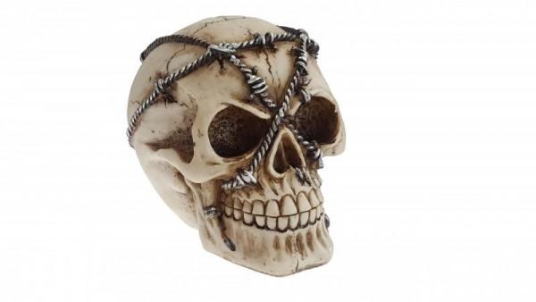 Halloween Horror Totenkopf Totenschädel mit Stacheldraht aus Resin
