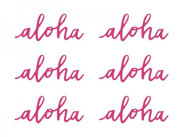 Aloha Schriftzug Tischdeko Hula Hawaii Beachparty 6 Stück