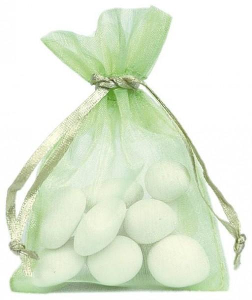 Organzabeutel Organzasäckchen apfelgrün 7,5cm x 10cm für Hochzeitsmandeln und Gastgeschenke 10 Stück