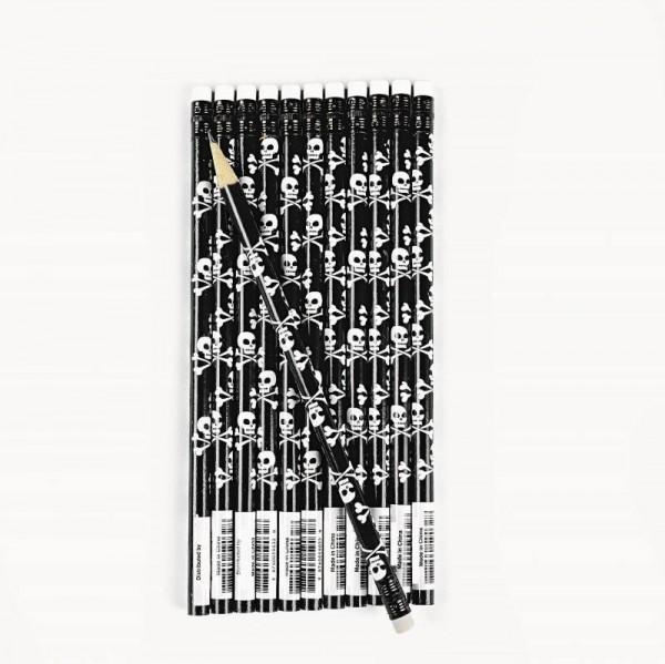 Piraten Bleistift mit Totenkopf und Knochen 12 Stück