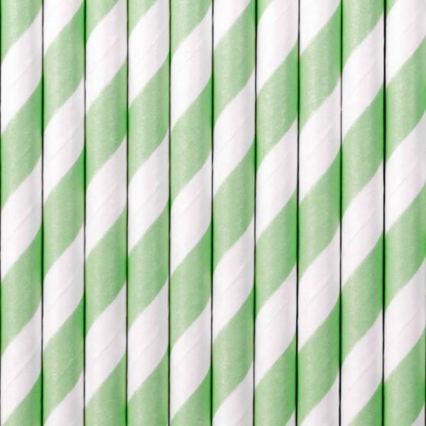 Trinkhalme Hellgrün Weiß gestreift aus Pappe Strohhalme 10 Stück
