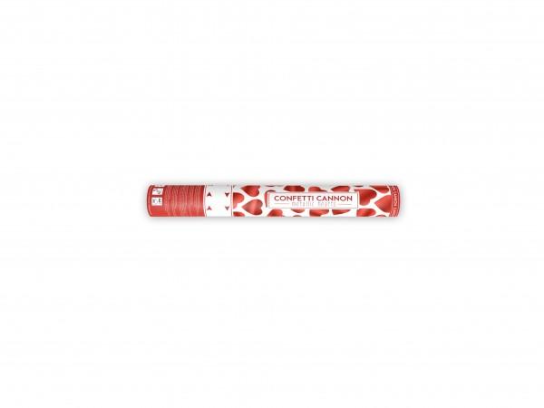 Konfetti Shooter Kanone mit roten Herzen 40cm