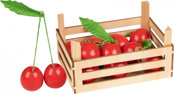 Holz-Kirschen in Obstkiste für Kaufmannsladen Marktstand