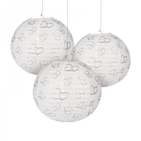 Lampions Weiß 30cm Durchmesser Laterne mit silbernen Doppelherzen 6 Stück