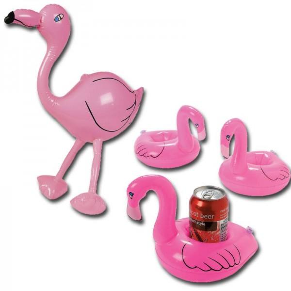 Flamingo Set aufblasbar 4 Getränkehalter Flamingo und 1 Flamingo 60cm