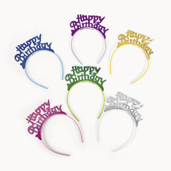 Happy Birthday Tiara mit Kunststoff-Haarreif für Geburtstagsparty 6 Stück