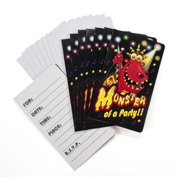 Lustige Monster Einladungskarten Halloween 8 Stück mit Umschlag