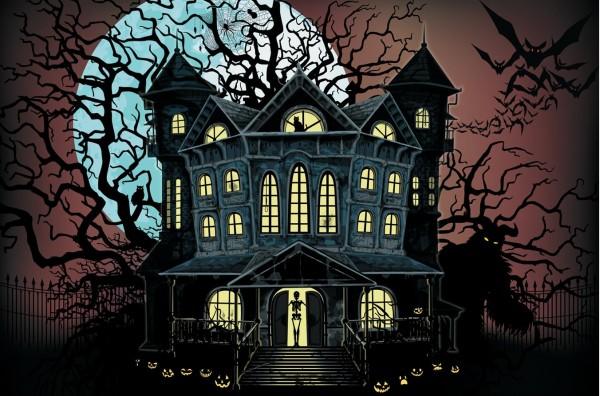 Halloween Horror Haus Spukhaus Wanddeko