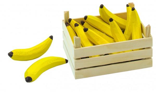 Holz-Bananen in Obstkiste für Kaufmannsladen Marktstand