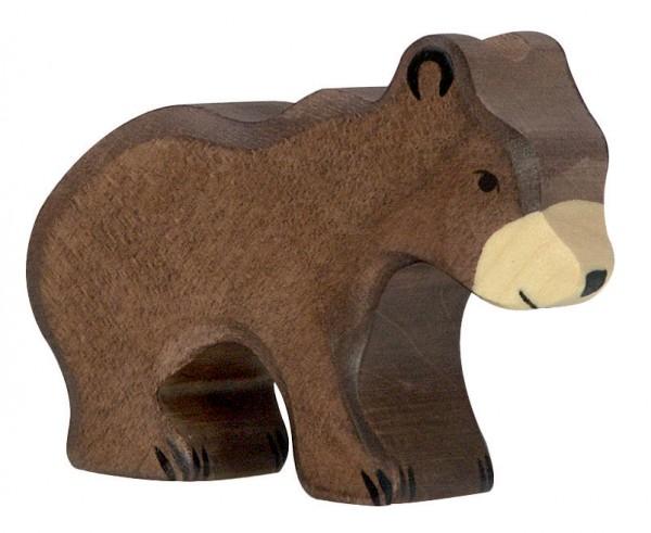 Holztiger Braunbär klein Holzfigur