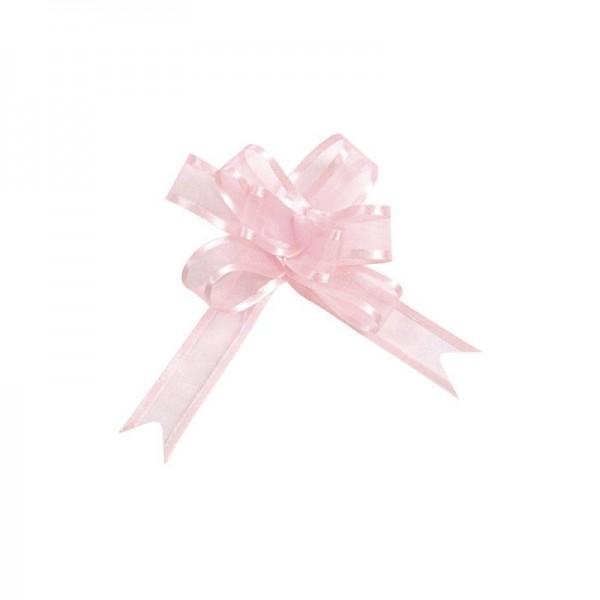 Ziehschleifen Geschenkschleifen rosa 14cm x 10cm aus Organza mit Satinkante 5 Stück