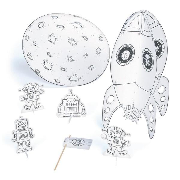 Weltraum Space Rakete Astronauten Roboter Mal- und Bastelset 6 Stück