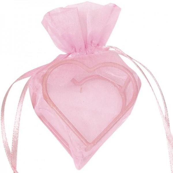 Herz Organzabeutel für Gastgeschenk rosa 4 Stück