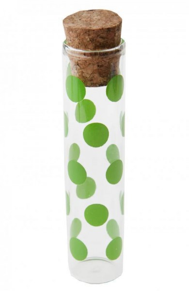 Reagenzglas für Gastgeschenke mit grünen Punkten 10cm 48 Stück