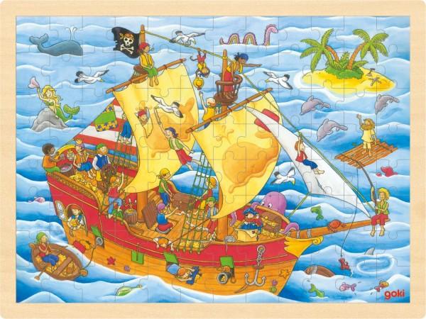 Einlegepuzzle Holzpuzzle Piratenschiff von goki 96 Teile